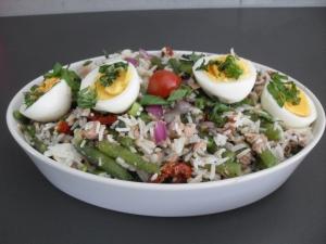 vooraf een simpel soepje en dan deze lekkere salade